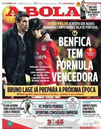 capa Jornal A Bola de 22 março 2020