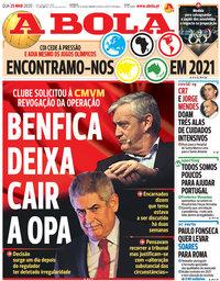 capa Jornal A Bola de 25 março 2020