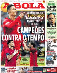 capa Jornal A Bola de 26 março 2020