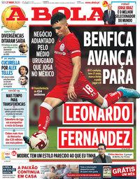 capa Jornal A Bola de 27 março 2020
