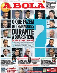 capa Jornal A Bola de 28 março 2020