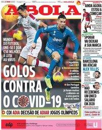 capa Jornal A Bola de 30 março 2020