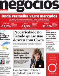 capa Jornal de Negócios de 2 março 2020