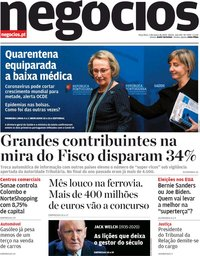 capa Jornal de Negócios de 3 março 2020