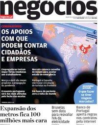 capa Jornal de Negócios de 16 março 2020