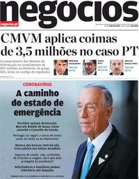 capa Jornal de Negócios de 17 março 2020