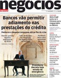capa Jornal de Negócios de 18 março 2020