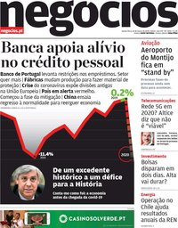 capa Jornal de Negócios de 26 março 2020
