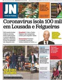 capa Jornal de Notícias de 9 março 2020