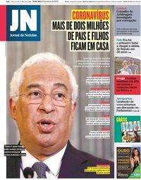 capa Jornal de Notícias de 13 março 2020