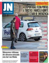 capa Jornal de Notícias de 16 março 2020