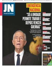 capa Jornal de Notícias de 19 março 2020