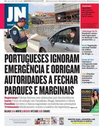 capa Jornal de Notícias de 23 março 2020