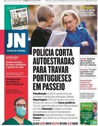 capa Jornal de Notícias de 29 março 2020