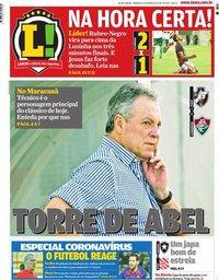 capa Jornal Lance! Rio de Janeiro de 15 março 2020