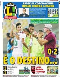 capa Jornal Lance! Rio de Janeiro de 16 março 2020