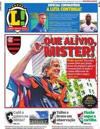 capa Jornal Lance! Rio de Janeiro de 19 março 2020