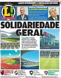 capa Jornal Lance! Rio de Janeiro de 21 março 2020