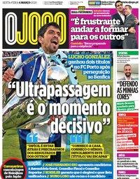 capa Jornal O Jogo de 6 março 2020