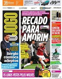 capa Jornal O Jogo de 7 março 2020