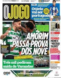 capa Jornal O Jogo de 9 março 2020