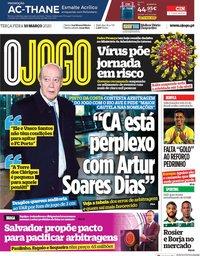 capa Jornal O Jogo de 10 março 2020