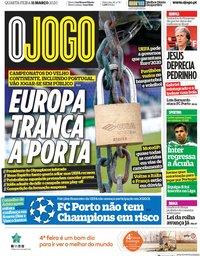 capa Jornal O Jogo de 11 março 2020