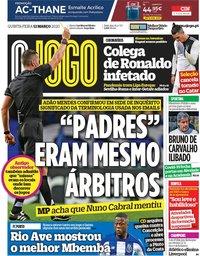 capa Jornal O Jogo de 12 março 2020
