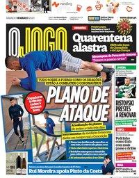 capa Jornal O Jogo de 14 março 2020
