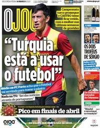capa Jornal O Jogo de 16 março 2020