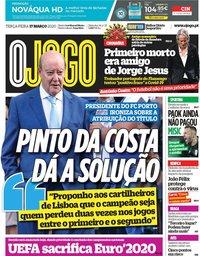 capa Jornal O Jogo de 17 março 2020