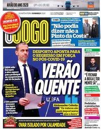capa Jornal O Jogo de 18 março 2020