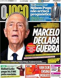 capa Jornal O Jogo de 19 março 2020