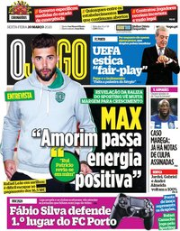 capa Jornal O Jogo de 20 março 2020