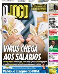 capa Jornal O Jogo de 21 março 2020