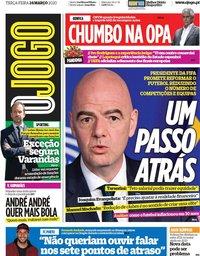 capa Jornal O Jogo de 24 março 2020