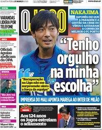 capa Jornal O Jogo de 25 março 2020