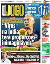 capa Jornal O Jogo de 26 março 2020