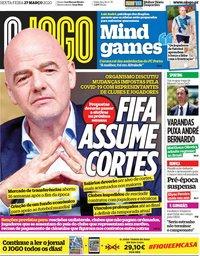 capa Jornal O Jogo de 27 março 2020