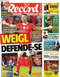 capa Jornal Record de 1 março 2020