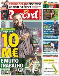 capa Jornal Record de 4 março 2020