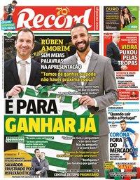 capa Jornal Record de 6 março 2020