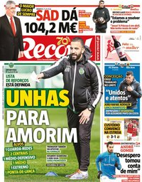 capa Jornal Record de 7 março 2020