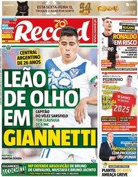 capa Jornal Record de 12 março 2020