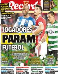capa Jornal Record de 13 março 2020