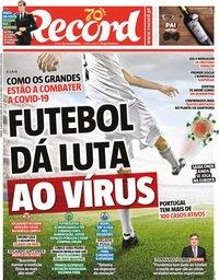 capa Jornal Record de 14 março 2020