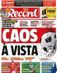 capa Jornal Record de 15 março 2020