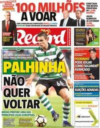 capa Jornal Record de 16 março 2020
