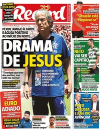 capa Jornal Record de 17 março 2020