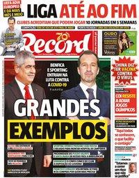 capa Jornal Record de 18 março 2020